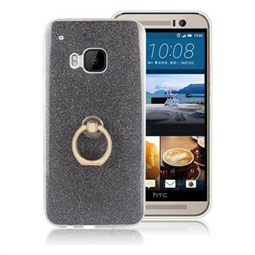 Luxury Soft TPU Glitter Back Ring Cover with 360 Rotate Finger Holder Buckle for HTC One M9 - Black