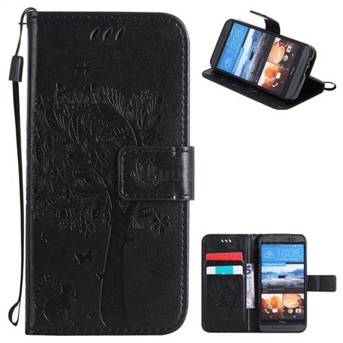 Embossing Butterfly Tree Leather Wallet Case for HTC One M9 - Black