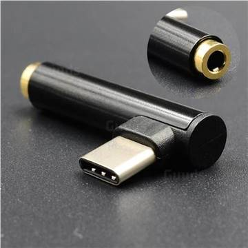Metal Type-C Male to 3.5mm Headphone Jack Adapter, 3.5mm Headphone Jack Female to Type-C Male Adapter - Black