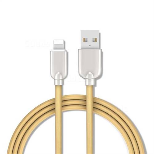 1 5m Metal Zinc Alloy Candy 8 Pin USB Data Charging Cable for Apple iPhone  / iPad / iPod - Gold