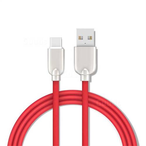 1.5m Metal Zinc Alloy Candy USB 3.1 Type-C Cable Data Charging Cable - Red