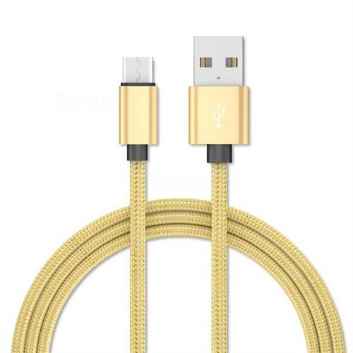1m Metal Weaving Micro USB Data Charging Cable for Samsung Sony LG Huawei Xiaomi Phones - Golden