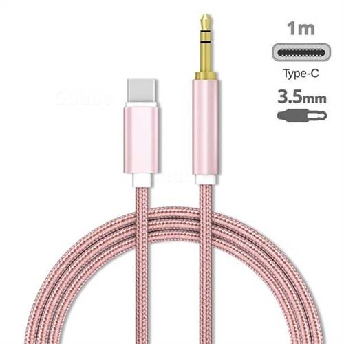 Audio Jack 3.5mm Male to Type-C Male Cable USB C to 3.5mm Jack Cable - 1m Rose Gold