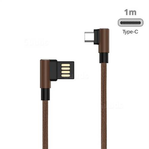 90 Degree Angle Metal Type-c Data Charging Cable - 1m / Brown