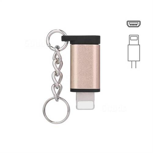 Keychain Aluminum Alloy Micro USB Female to 8 Pin Male Connector Adapter - Golden