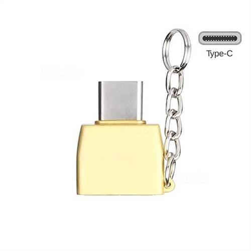Keychain Zinc Alloy Type-C OTG Connector Adapter - Golden