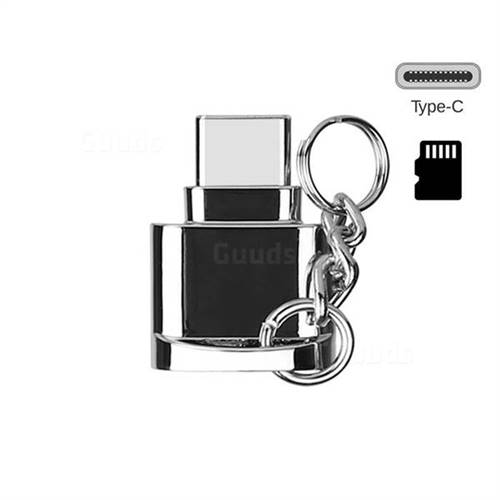 Keychain Zinc Alloy Type-C OTG TF Card Reader - Bright Silver