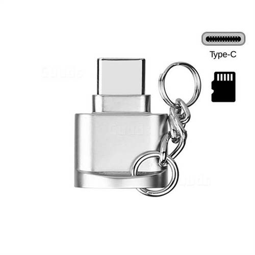 Keychain Zinc Alloy Type-C OTG TF Card Reader - Silvery