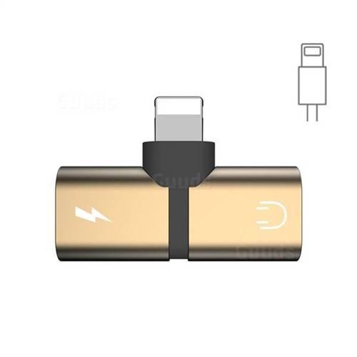 Mini Aluminum Alloy 8 Pin Headphone Jack and Charge Spliter Adapter - Golden