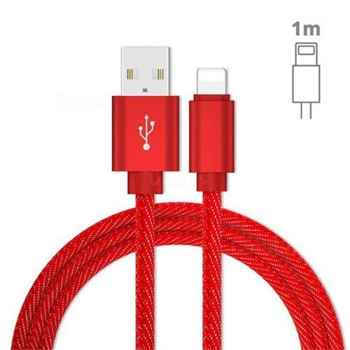 Jeans Braided Durability Anti-winding 8 Pin Quick Charging Cable - Red