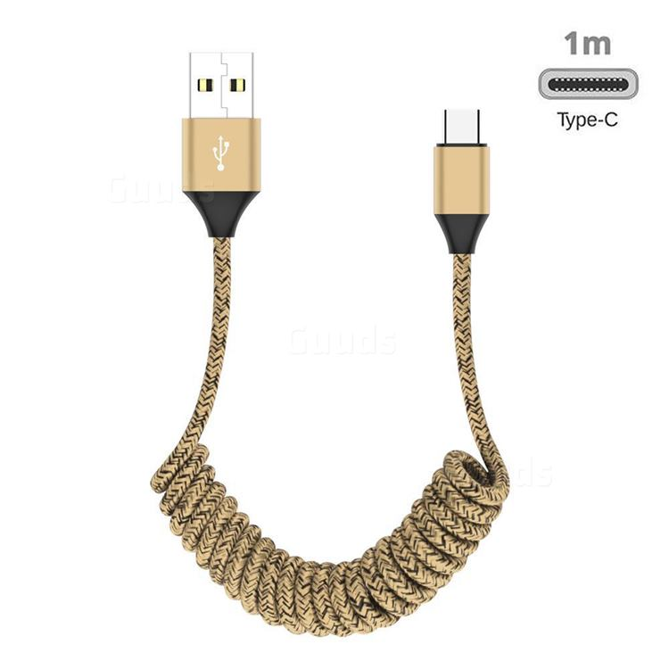 Type-c Stretch Spring Weave Data Charging Cable for Android Phones Laptop - Goldden