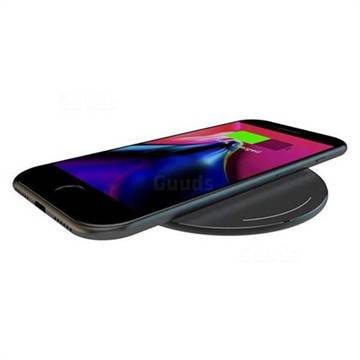 YOGEE 5W Wireless Charger 5mm Ultra Thin Matte Aluminum Qi Charging Pad for Samsung iPhone Qi-Enabled Devices YC007 Black