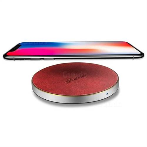 Suteni PU Leather Portable Wireless Phone Charger Fast Charge Qi Wireless Charging Thin Pad - Red