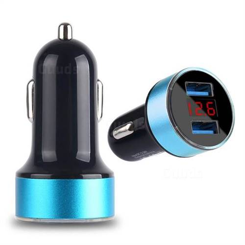 Dual USB Fast Car Charger 3.1A Car Charger with LED Display Car Battery Detection - Blue