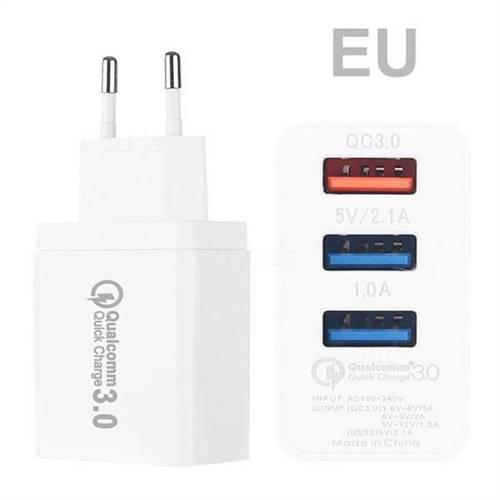 QC 3.0 USB Wall Charger 3 Ports USB Travel Charger - EU Plug