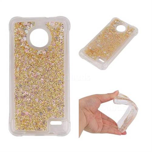 Dynamic Liquid Glitter Sand Quicksand Star TPU Case for Motorola Moto E4 - Diamond Gold