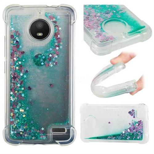 Dynamic Liquid Glitter Sand Quicksand TPU Case for Motorola Moto E4(Europe) - Green Love Heart