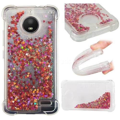 Dynamic Liquid Glitter Sand Quicksand TPU Case for Motorola Moto E4(Europe) - Rose Gold Love Heart