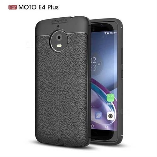 Luxury Auto Focus Litchi Texture Silicone TPU Back Cover for Motorola Moto E4(Europe) - Black