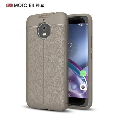 Luxury Auto Focus Litchi Texture Silicone TPU Back Cover for Motorola Moto E4(Europe) - Gray