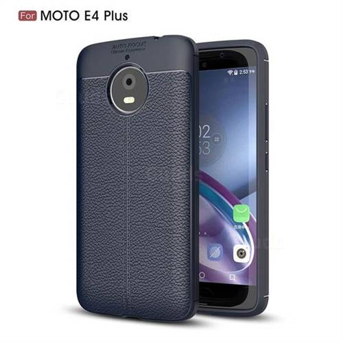 Luxury Auto Focus Litchi Texture Silicone TPU Back Cover for Motorola Moto E4(Europe) - Dark Blue