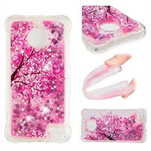 Pink Cherry Blossom Dynamic Liquid Glitter Sand Quicksand Star TPU Case for Motorola Moto E4(Europe)