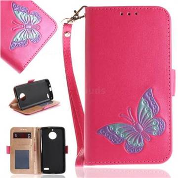 Imprint Embossing Butterfly Leather Wallet Case for Motorola Moto E4(Europe) - Rose Red