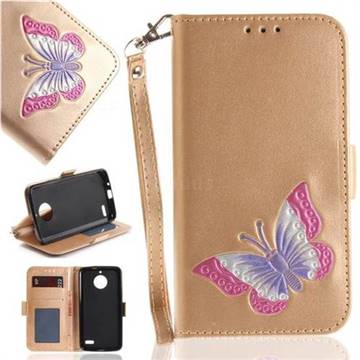 Imprint Embossing Butterfly Leather Wallet Case for Motorola Moto E4(Europe) - Golden
