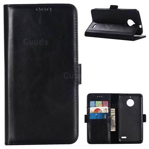 Luxury Crazy Horse PU Leather Wallet Case for Motorola Moto E4(Europe) - Black
