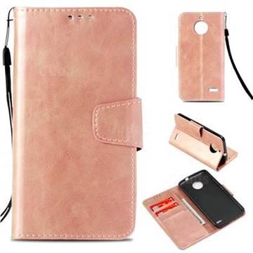Retro Phantom Smooth PU Leather Wallet Holster Case for Motorola Moto E4(Europe) - Rose Gold