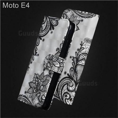 Black Lace Flower 3D Painted Leather Wallet Case for Motorola Moto E4(Europe)