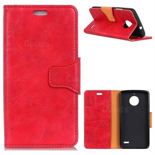 MURREN Luxury Crazy Horse PU Leather Wallet Phone Case for Motorola Moto E4(Europe) - Red