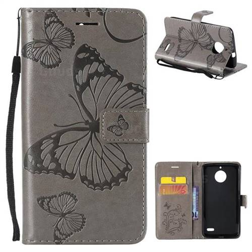 Embossing 3D Butterfly Leather Wallet Case for Motorola Moto E4(Europe) - Gray