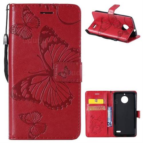 Embossing 3D Butterfly Leather Wallet Case for Motorola Moto E4(Europe) - Red