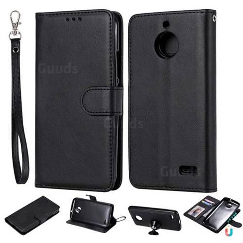 Retro Greek Detachable Magnetic PU Leather Wallet Phone Case for Motorola Moto E4(Europe) - Black
