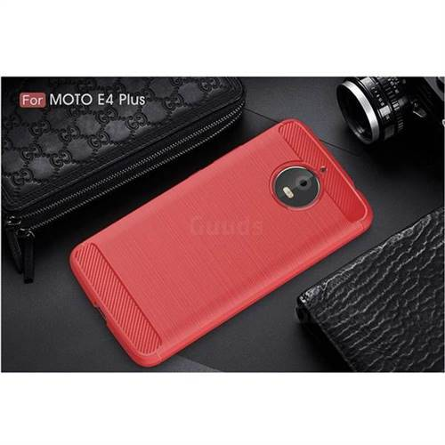 competitive price f1f97 ad5a0 Luxury Carbon Fiber Brushed Wire Drawing Silicone TPU Back Cover for  Motorola Moto E4 Plus (Red)