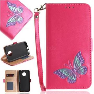 Imprint Embossing Butterfly Leather Wallet Case for Motorola Moto E4 Plus(Europe) - Rose Red
