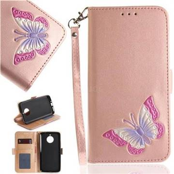 Imprint Embossing Butterfly Leather Wallet Case for Motorola Moto E4 Plus(Europe) - Rose Gold