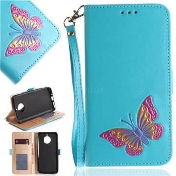 Imprint Embossing Butterfly Leather Wallet Case for Motorola Moto E4 Plus(Europe) - Sky Blue