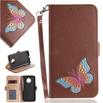 Imprint Embossing Butterfly Leather Wallet Case for Motorola Moto E4 Plus(Europe) - Brown