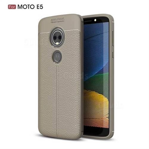 Luxury Auto Focus Litchi Texture Silicone TPU Back Cover for Motorola Moto E5 - Gray