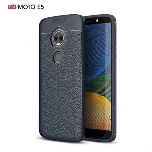 Luxury Auto Focus Litchi Texture Silicone TPU Back Cover for Motorola Moto E5 - Dark Blue