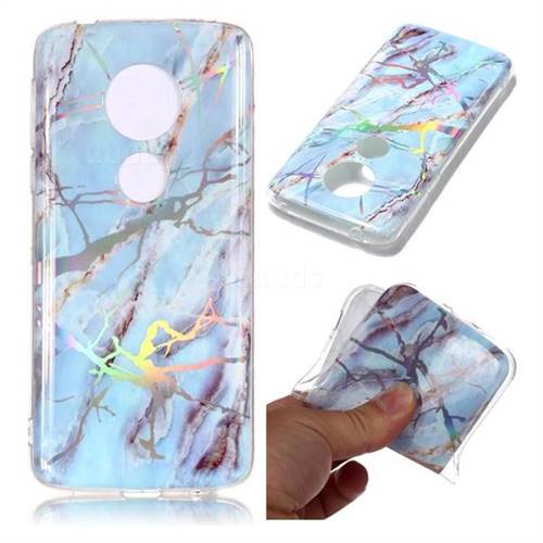 Light Blue Marble Pattern Bright Color Laser Soft TPU Case for Motorola Moto E5