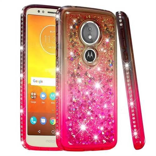 Diamond Frame Liquid Glitter Quicksand Sequins Phone Case for Motorola Moto E5 - Gray Pink