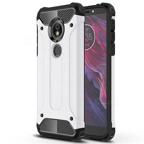 King Kong Armor Premium Shockproof Dual Layer Rugged Hard Cover for Motorola Moto E5 - White