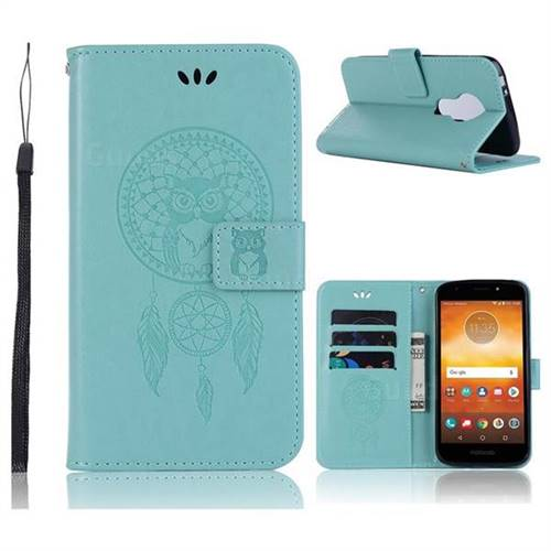 Intricate Embossing Owl Campanula Leather Wallet Case for Motorola Moto E5 - Green