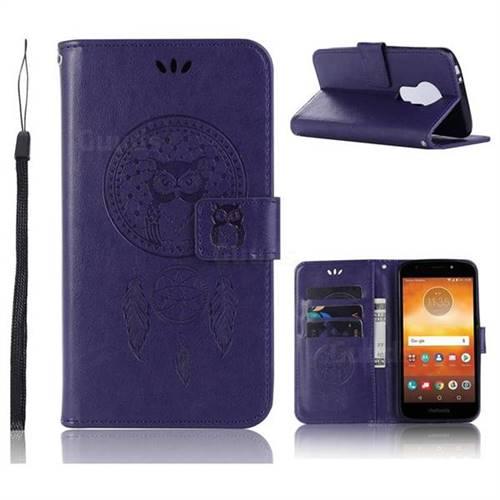 Intricate Embossing Owl Campanula Leather Wallet Case for Motorola Moto E5 - Purple