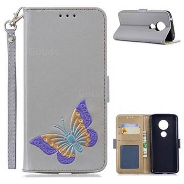 Imprint Embossing Butterfly Leather Wallet Case for Motorola Moto E5 - Grey