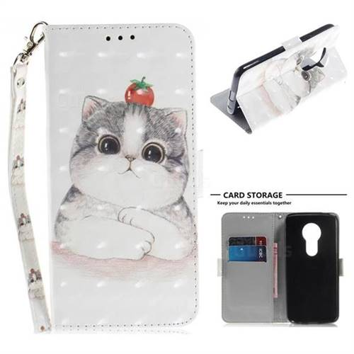 Cute Tomato Cat 3D Painted Leather Wallet Phone Case for Motorola Moto E5
