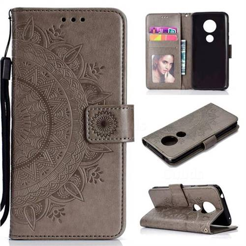 Intricate Embossing Datura Leather Wallet Case for Motorola Moto E5 - Gray